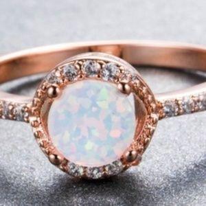 Jewelry - Classic Round Cut White Fire Opal 18K Rose Gold